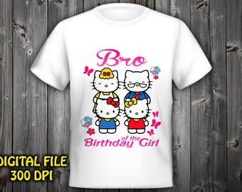 Brother Hello Kitty Iron On Transfer Birthday Shirt Instant Download