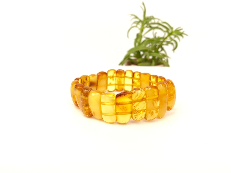 Handmade with Natural Honey Amber. Baltic Amber Stretchy Bracelet