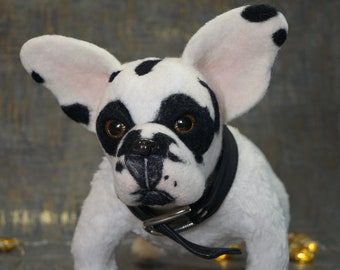 Dog toys,Bulldog toy,Realistic Bulldog,French Bulldog,Scarecrow dog,Plushie dogs,Realistic stuffed animal,Sculpture collection,Mother's Day