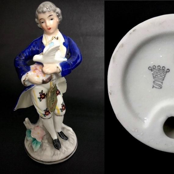 Romantic. German vintage 6 court boy porcelain figure Vintage 1960s70s Saxony porcelain figurine of a noble young man holding a dove