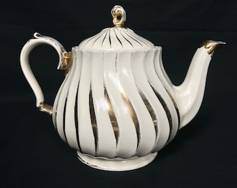 Vintage 1950s classic teapot by James Sadler England. White ironstone tea pot with gold details. Swirl design Sadler pot. Tea party pot.