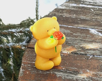 Beeswax candle bear figurine - Baby shower favors candles - Thank you sister coworker gifts - Mothers day