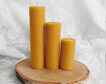 Rolled beeswax pillar candles - Handmade candles - Unscented candles - Sustainable beeswax candle - Hygge candle - Set or piece by piece