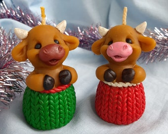 Chinese zodiac bull - symbol 2021 - beeswax candle  bull cow - christmas gift idea for collector, coworker, friends and neighbors
