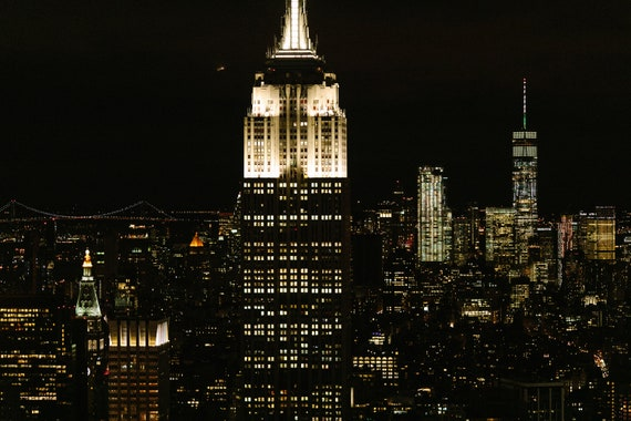 Empire State Building At Night New York Skyline At Night Etsy