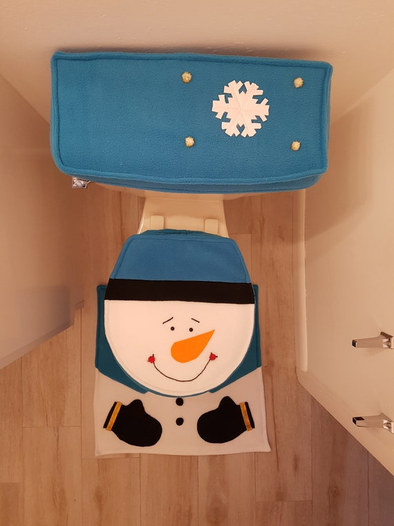 Swell Christmas Toilet Seat Cover Blue Snowman 3 Pcs Cjindustries Chair Design For Home Cjindustriesco