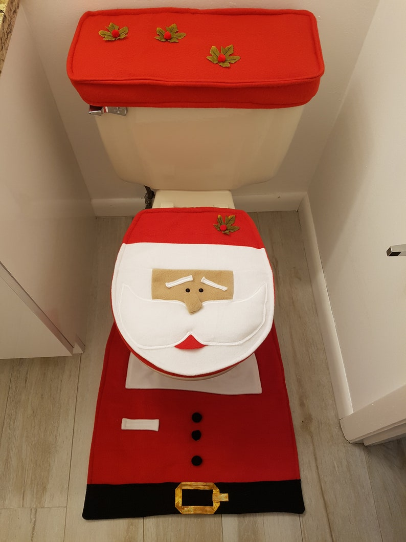 Groovy New Toilet Seat Cover Red Santa 3 Pcs Juego De Bano Navidad Ncnpc Chair Design For Home Ncnpcorg