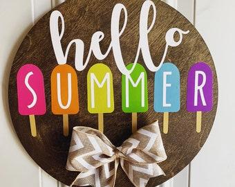 """Hello Summer Door Hanger, Front Door Sign, Popsicles, 12"""" Summer Wreath for Front Door"""