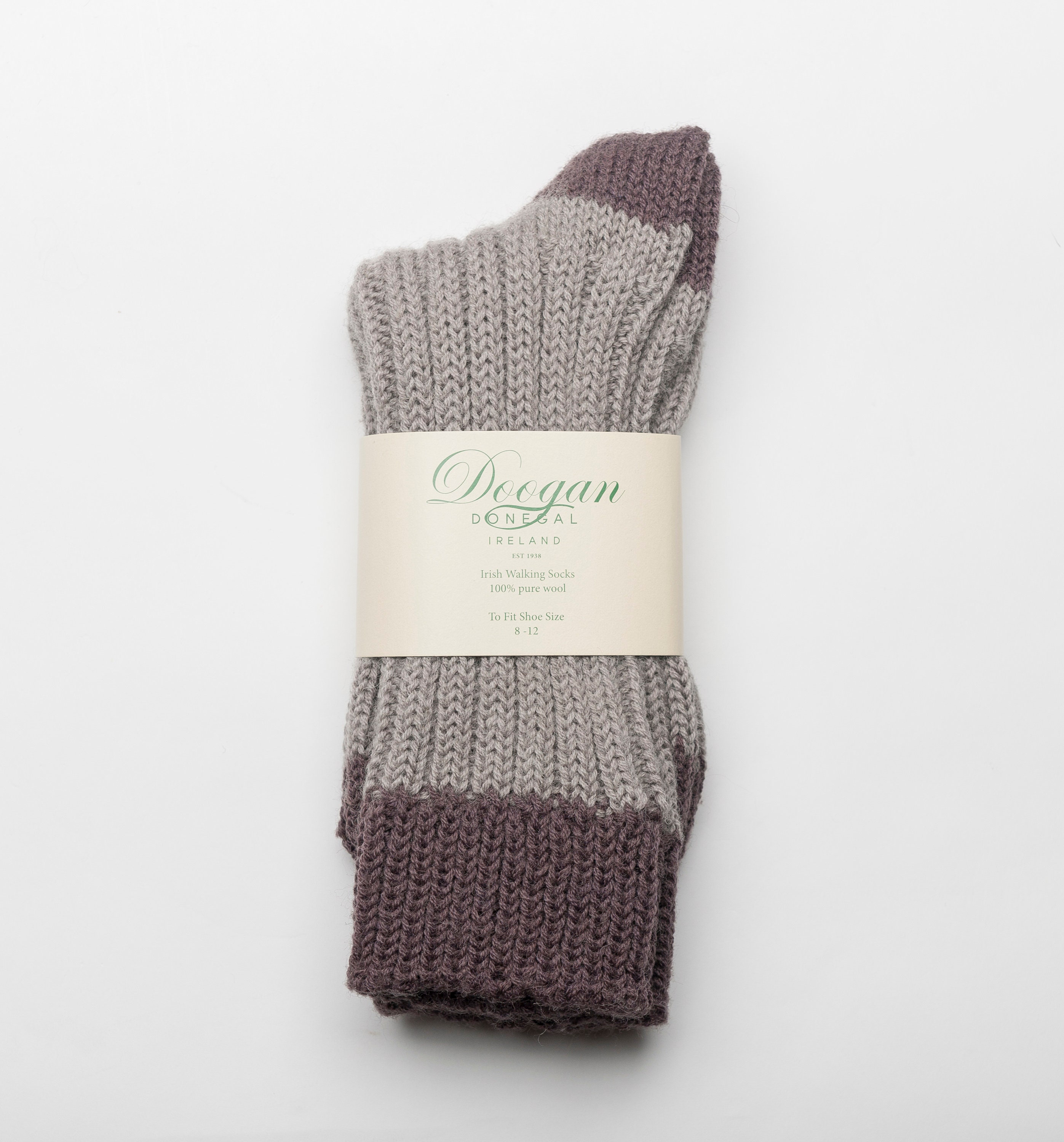 fb2988161263 100 % Irish Donegal Wool Sock Grey Brown Hand Crafted