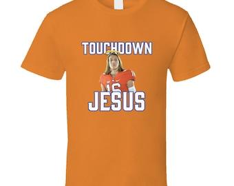 b4318a767 Trevor Lawrence Clemson Football Touchdown Jesus T Shirt