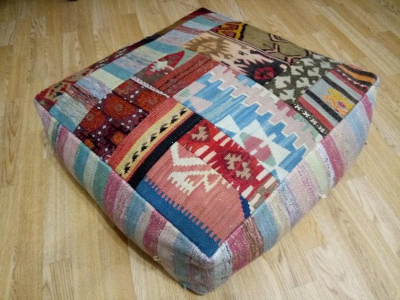 Kilim Pouf Square 24x24x8 inches Kilim Patchwork pouf Square Poufs Floor Pillow Cover Oversize Pillow Cover Anatolian Kilim Pouf Home decor