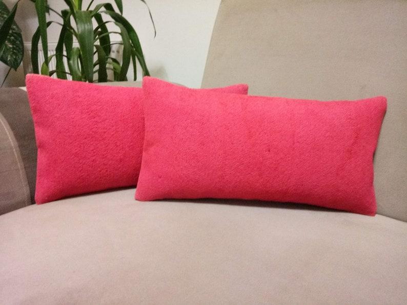 Pink Dyed Kilim Pillow 10x20 inches Anatolian Kilim pillow Decorative Kilim pillow Turkish Kilim lumbar pillow Handmade kilim pillow cushion