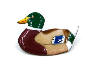 Enamel Duck Pin  Vintage Duck Pin  Vintage Lapel Pin  Mallard Duck Pin