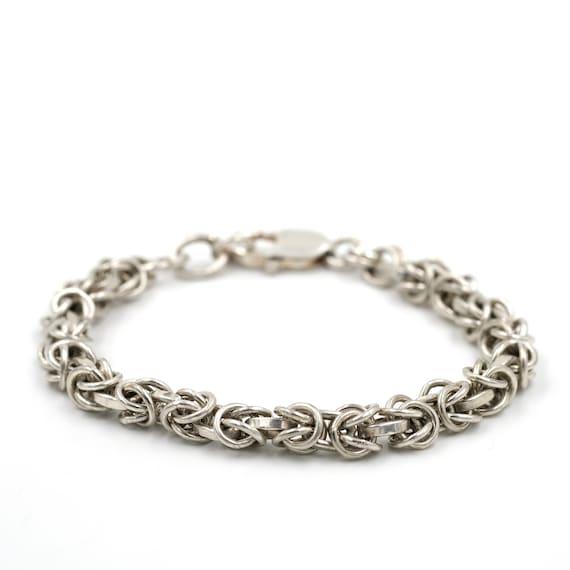 Heavy Byzantine Link Bracelet // Sterling Layering