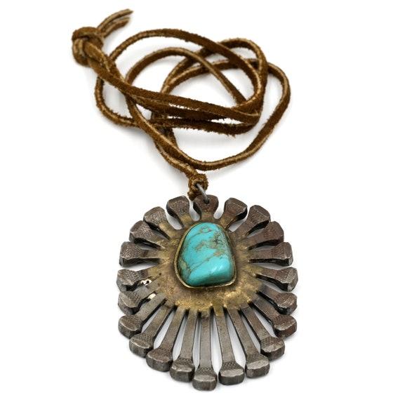 Folk Art Horseshoe Nail Necklace // Vintage Horses