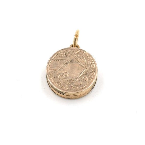 Edwardian Watch Fob Charm // Antique Gold Etched P