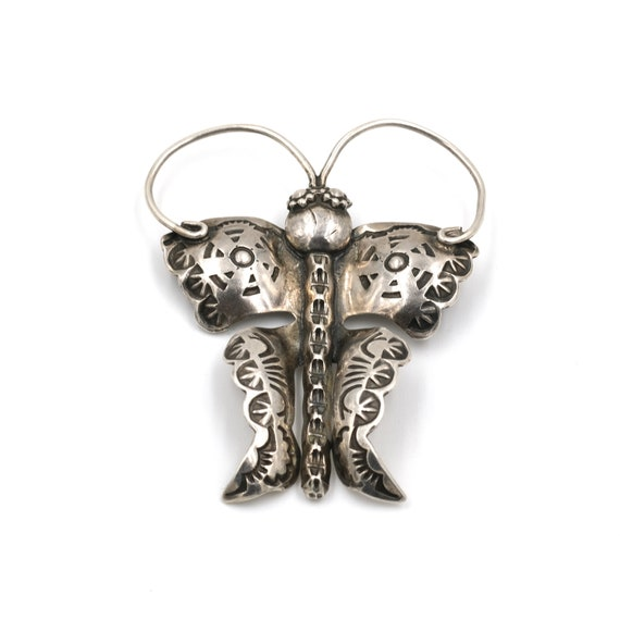 Large Sterling Stamped Butterfly Pin // Large Butt