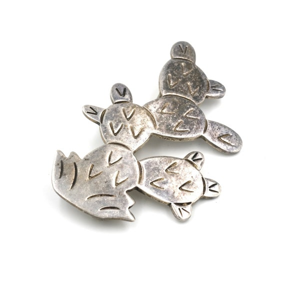 1980s Taxco Sterling Prickly Pear Pin // Sterling