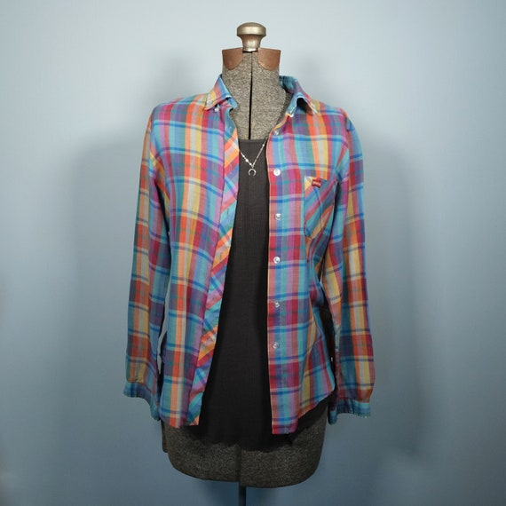 Vintage Sasson Rainbow Plaid Button Up // Vintage