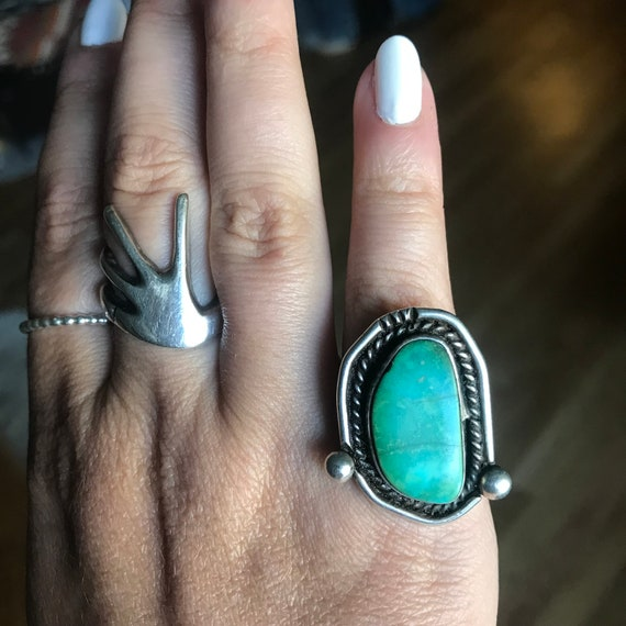 Size 5 // Vintage Green Turquoise Sterling Ring //