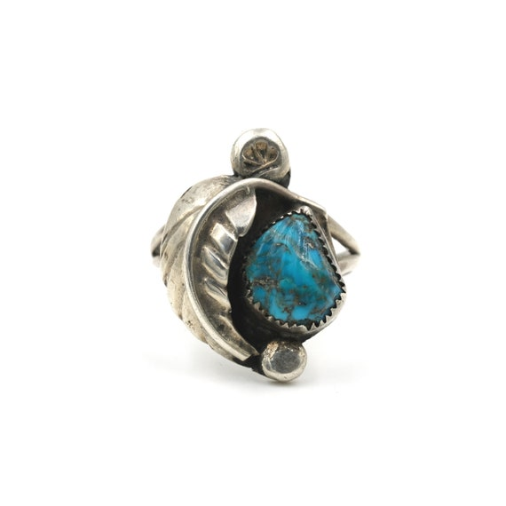 9 Navajo Sleeping Beuaty leaf work Turquoise Ring