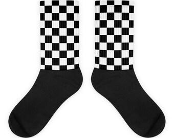 9a72c7465ac1 Black and White Checkered Socks