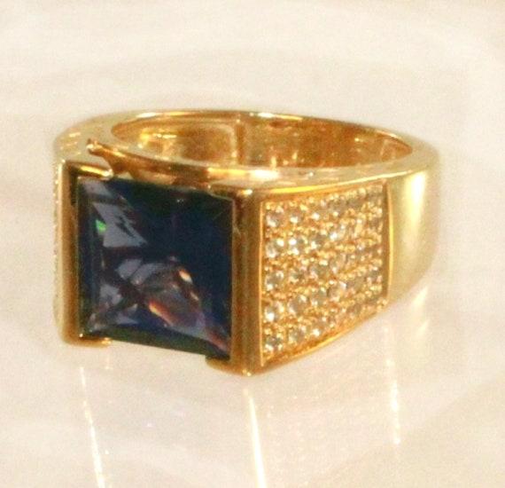 14k Gold Iolite Large Square Solitaire Pave Diamo… - image 2
