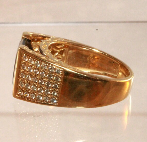 14k Gold Iolite Large Square Solitaire Pave Diamo… - image 7