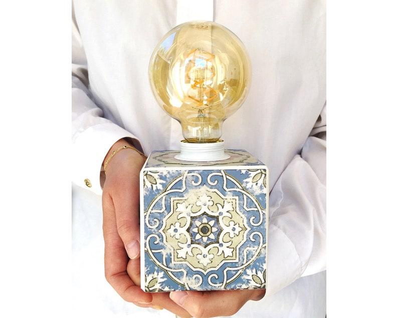 Spanisch Tisch Lampe Keramikfliesen Azulejos Authentische Etsy
