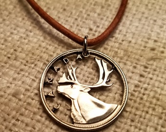 30537d55b Canadian caribou necklace, cut coin jewelry, pendant