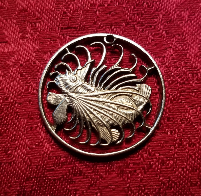 Pendant Necklace Charm Singapore 50 cent coin Lion fish Cut coin jewelry