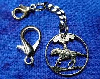 Cut Coin Jewelry,  Coin Zipper Pull, Book Bag Charm, Jacket Zipper Pull, Coat Zipper Charm, USA Delaware Quarter, Horse & Rider Zipper Pull