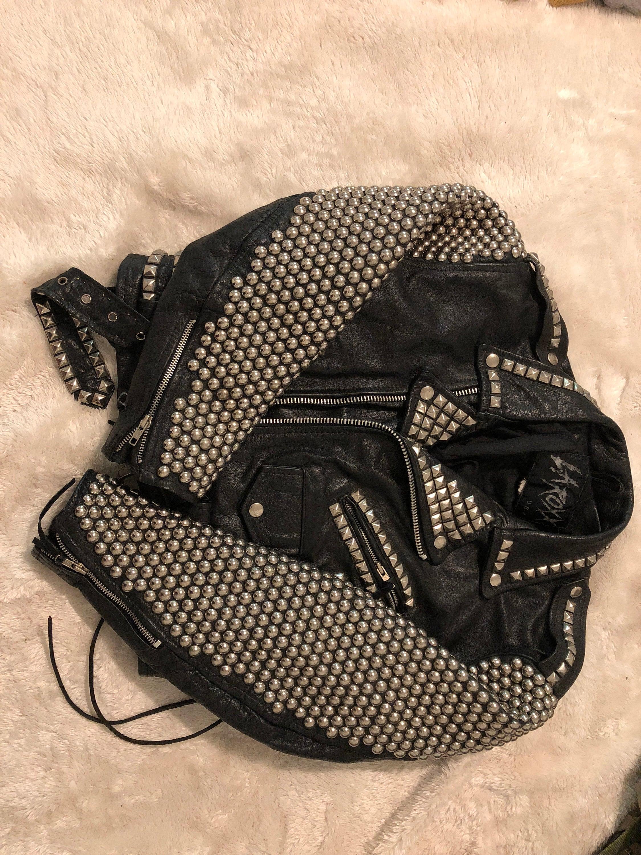 Roxx Porté LA veste en cuir clouté très rare 80. Porté Roxx par Kanye West sur BN 2080ab