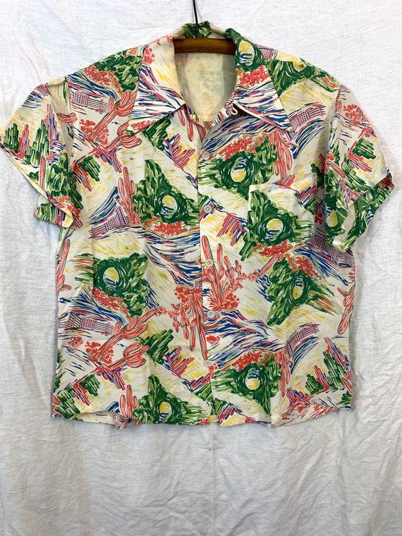 1940's Western theme rayon Hawaiian shirt S/M