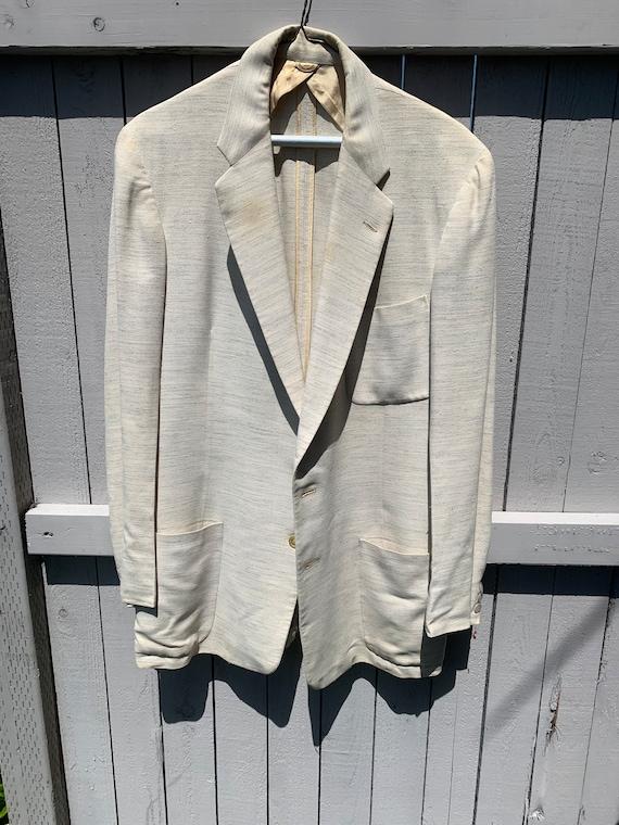 1950's Cream Fleck Patch Pocket Mens Suit Jacket
