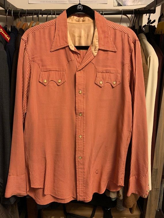 1950's Mens Rayon Western Shirt ML