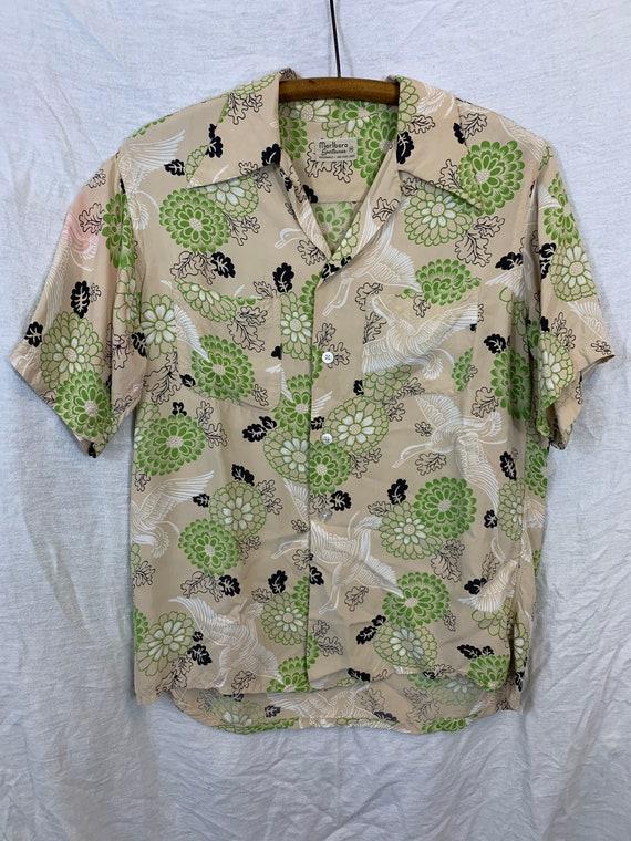 1940's Japanese print Hawaiian rayon shirt M