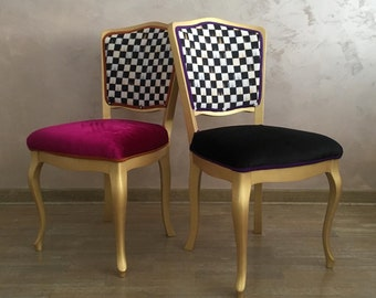 Set of two vintage dining chairs.Eclectic boho side chairs.Burgundy and black accent chairs.Funky vintage chairs.