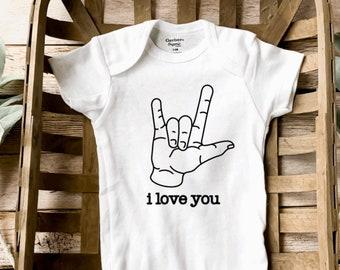 ASL I Love You Sign Language Infant Bodysuit