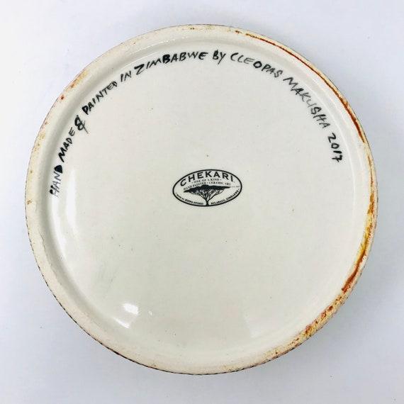 Collectable Africa One of a Kind Handmade Zimbabwe Chekari Mashona Medium DogCat Bowl Hand-Painted Ceramic Safari African Art