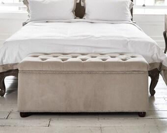 Merveilleux Crushed Black Velvet Upholstered Ottoman Storage Box Bedroom ...