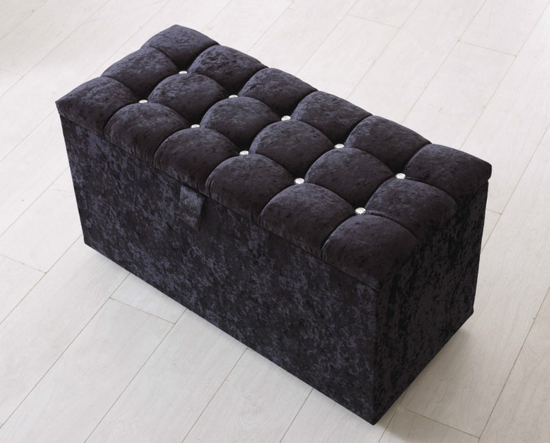 Superb Crushed Black Velvet Upholstered Ottoman Storage Box Bedroom Footstool Tufted Blanket Toy Box Ncnpc Chair Design For Home Ncnpcorg