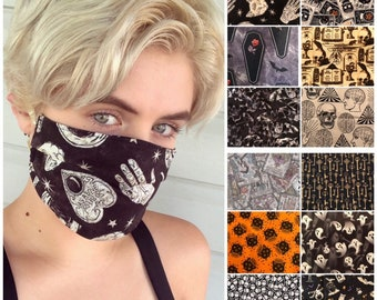 Witchy Goth Face Mask, Machine Washable, Witch, Halloween, Bats, Astrology, Spooky, Tarot, Moon, Ghost, Magic, Mystic, Occult, Face Covering