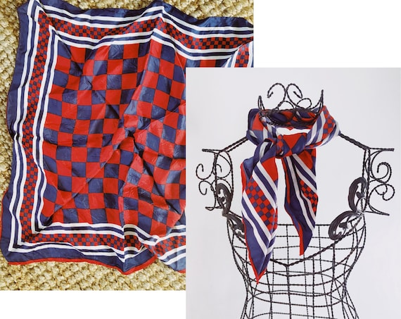 Checker Board Scarf - Vintage Red White and Blue C