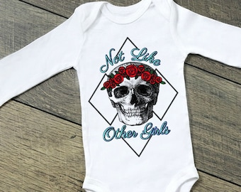 516109a25 Grateful Dead Not Like Other Girls Skull and Roses Steal Face Baby ONESIE ®  by Gerber® Bodysuit Kids Toddler Tshirt Tie Dyes Hippy Parents