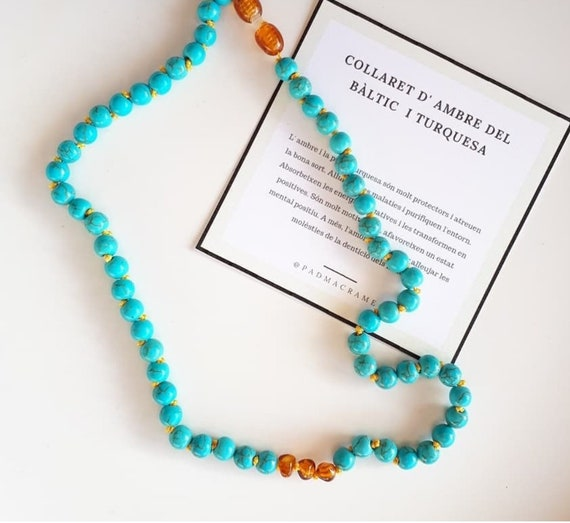 Collar de ambar y turquesa, 100% Baltic amber, turquoise, amber necklace, kids necklace, theeth, amber necklace