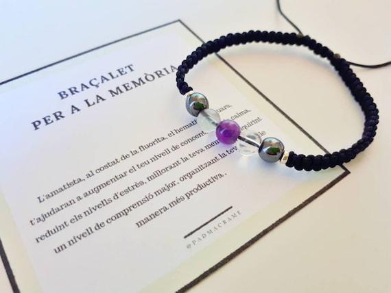 Pulsera de la memoria, memory bracelet, pulsera piedras preciosas, pulsera piedras naturales, hematite, amatista, fluorita, cuarzo blanco