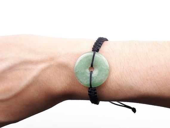 Pulsera de macramé con piedra jade verde
