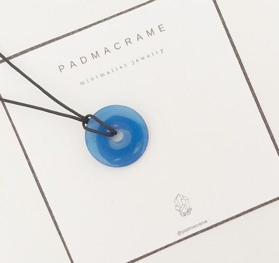 Collar donut de ágata azul