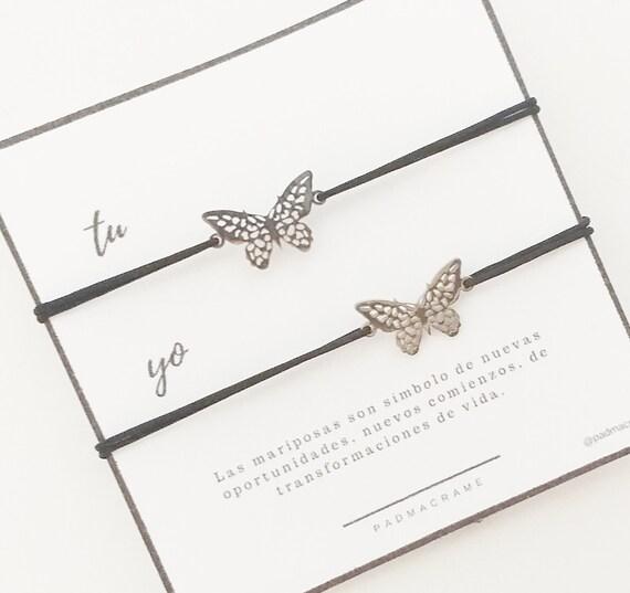Pack pulseras para 2:  mariposa de acero.
